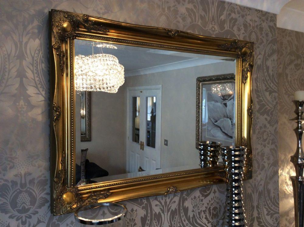 New Antique Gold Shabby Chic Framed Ornate Overmantle